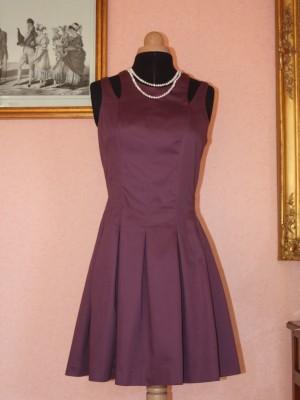 robe de soirée prune à 4 bretelles
